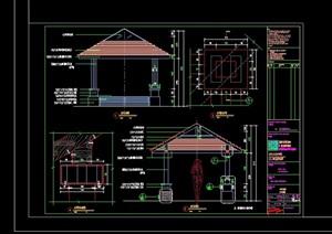 现代风格详细的完整亭子素材cad施工图