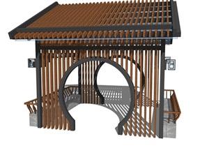 中式古典廊架亭子亭廊花架休闲茶室园林小品木制花架廊架小场景
