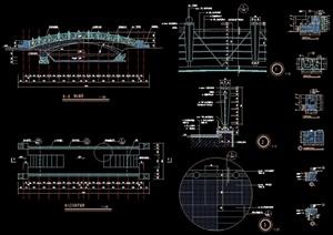 中式风格详细的拱桥园桥cad施工图