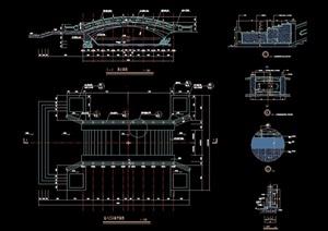 古典中式风格详细的石桥cad施工结构图