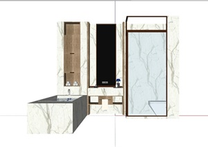 某現代風格詳細的完整衛浴組合SU(草圖大師)模型