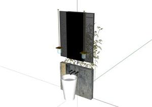 詳細的洗手臺衛浴組合SU(草圖大師)模型
