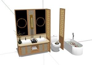 詳細的衛生間衛浴組合SU(草圖大師)模型