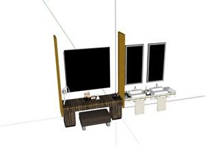 詳細的完整衛浴組合SU(草圖大師)模型