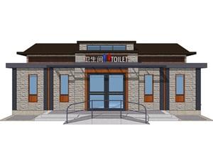新中式公廁公園小型公共衛生間旅游景區公共廁所方案SU模型
