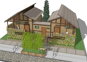 新中式公厕公园小型公共卫生间旅游景区公共厕所方案SU模型2