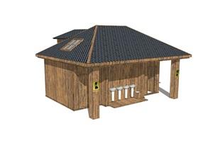 新中式公廁公園小型公共衛生間旅游景區公共廁所方案SU模型3