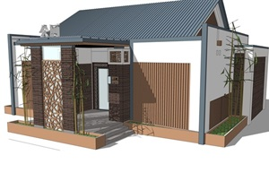 新中式公厕公园小型公共卫生间旅游景区公共厕所方案SU模型4