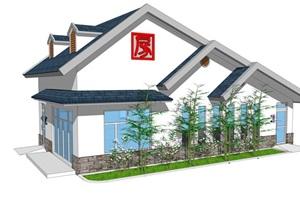 新中式公厕公园小型公共卫生间旅游景区公共厕所方案SU模型5