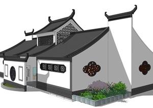 新中式公廁公園小型公共衛生間旅游景區公共廁所方案SU模型6