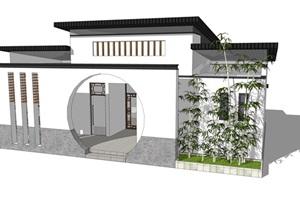 新中式公厕公园小型公共卫生间旅游景区公共厕所方案SU模型10