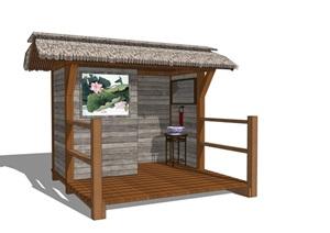 新中式公厕公园小型公共卫生间旅游景区新农村公共厕所方案SU模型11