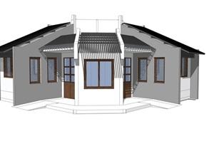 新中式公厕公园小型公共卫生间旅游景区公共厕所方案SU模型12