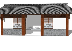 新中式公廁公園小型公共衛生間旅游景區公共廁所方案SU模型13