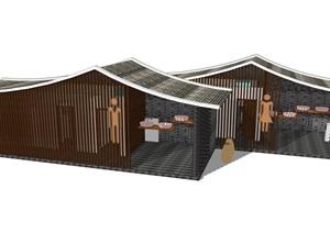 新中式公廁公園小型公共衛生間旅游景區公共廁所方案SU模型15