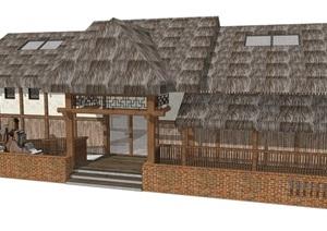 新中式公廁公園小型新農村公共衛生間旅游景區公共廁所方案SU模型17