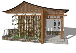 新中式公廁公園小型新農村公共衛生間旅游景區公共廁所方案SU模型23