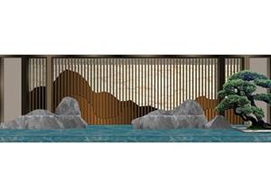 現代中式景觀墻詳細設計SU(草圖大師)模型