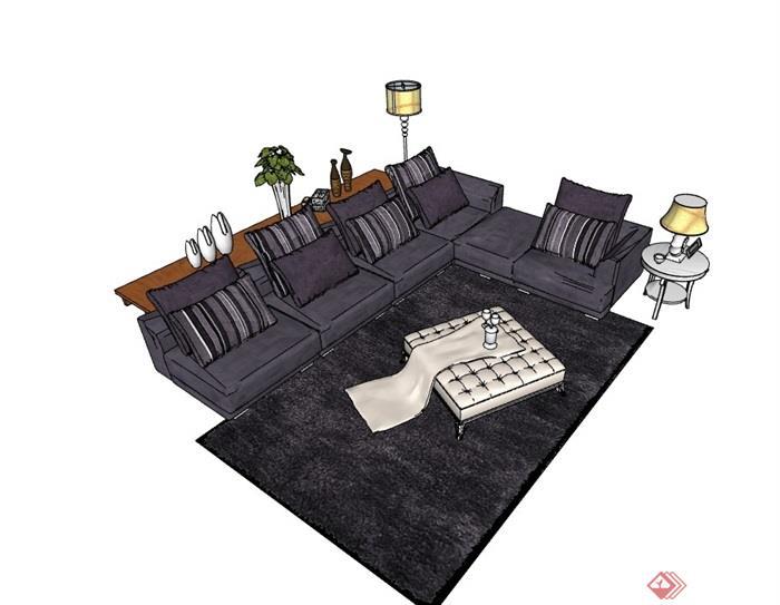 详细的完整沙发组合su模型