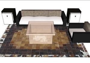 详细的整体独特完整沙发组合SU(草图大师)模型