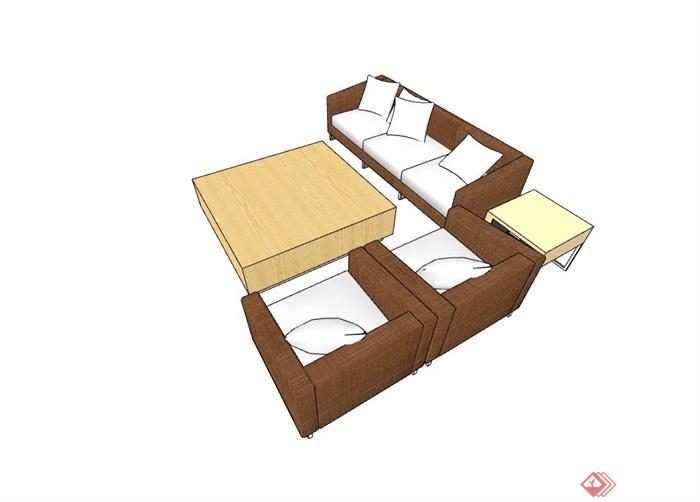 某完整的详细独特沙发组合su模型