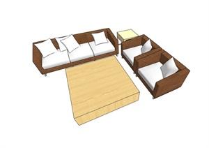 某完整的详细独特沙发组合SU(草图大师)模型