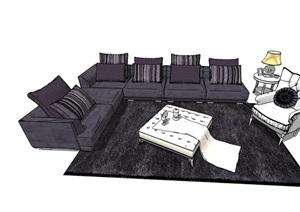 完整的详细独特沙发组合SU(草图大师)模型