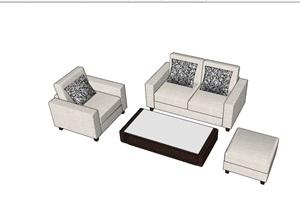 某现代风格完整的沙发组合素材SU(草图大师)模型