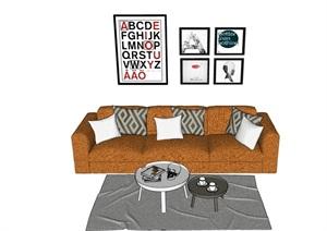 某完整的现代沙发组合SU(草图大师)模型