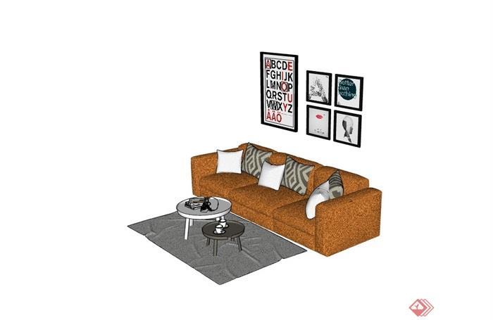 某完整的现代沙发组合su模型