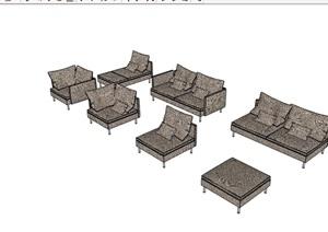 某现代风格室内沙发组合SU(草图大师)模型
