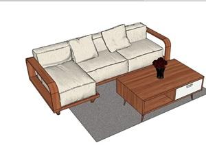 详细的现代沙发茶几组合SU(草图大师)模型