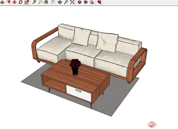 详细的现代沙发茶几组合su模型