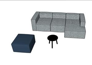 某整体独特详细的完整沙发组合SU(草图大师)模型