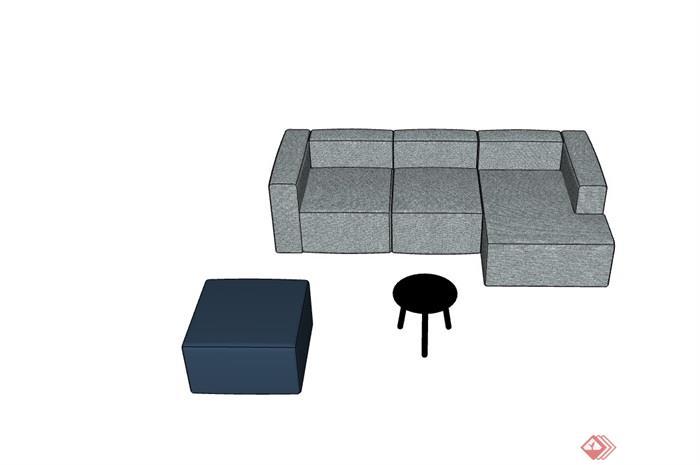 某整体独特详细的完整沙发组合su模型