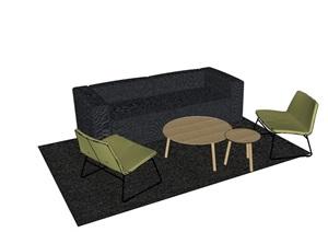 现代风格详细的沙发桌椅组合SU(草图大师)模型