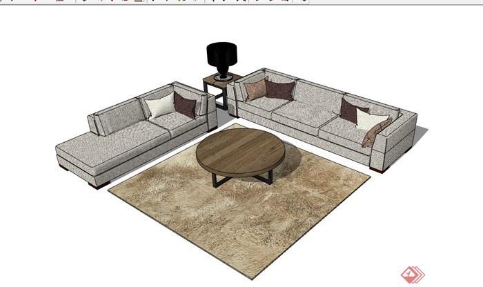 详细的整体独特完整沙发组合su模型