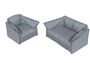 完整的两个沙发组合SU(草图大师)模型