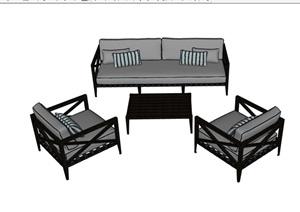 某完整的现代沙发茶几组合SU(草图大师)模型