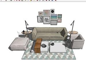 现代风格整体独特沙发组合SU(草图大师)模型