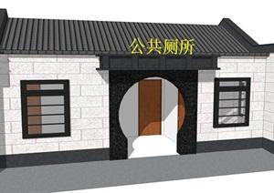 新中式公廁公園小型新農村公共衛生間旅游景區公共廁所方案SU模型24