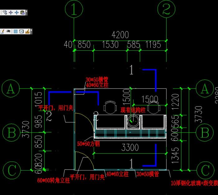 财务室的平面图,立面图、剖面图(2)