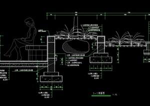 详细的树池坐凳节点cad施工图