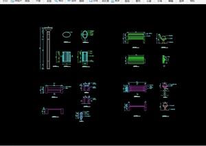 详细的完整坐凳节点素材设计cad施工图