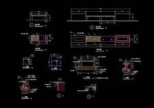 详细的现代风格坐凳节点设计cad施工图