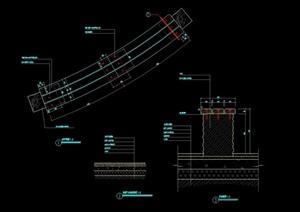 详细的整体坐凳节点设计cad施工图