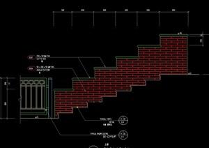 某独特的台阶式挡墙素材cad施工图