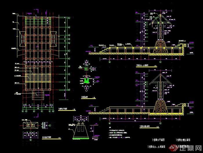 详细的完整入口大门素材cad施工图