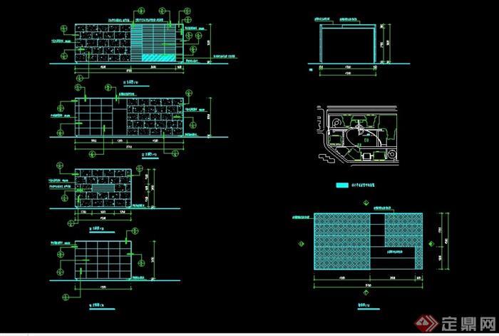 某现代整体详细的完整入口大门素材cad施工图