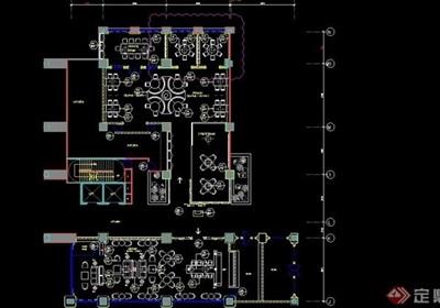 详细的整体餐饮空间室内设计cad施工图纸